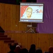USAID/Afghanistan's Health and Nutrition Office Director, Karla Fossand, delivering remarks via video.