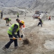 People working on the Gardez-Khost highway which is financially supported by USAID