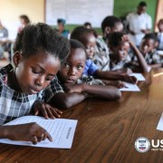 Students reading in class at Kasupe Primary School in Chipata during the official launch of the USAID Let's Read Program.