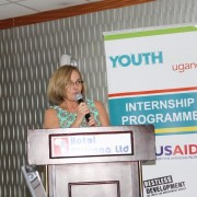 USAID Uganda Mission Director, Leslie Reed delivers remarks at the launch of the second cohort of youth Interns in Kampala