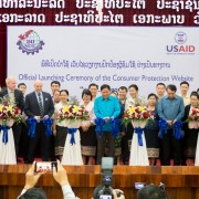 Deputy Country Office Director of USAID Mr. Patrick Bowers and Vice Minister of Industry and Commerce H.E Somchit Inthamith cut a ribbon to launch the new consumer protection website developed with support from the United States government.