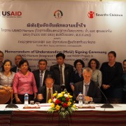 Lao government signs a memorandum of understanding with Save the Children as they work with the U.S. Government to reduce child stunting.