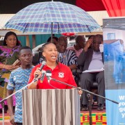 Ms. Janean Davies, USAID/Ghana Health, Population and Nutrition Office Director, giving a speech in Somanya during the celebration of the 2019 World Malaria Day