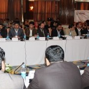 The mayors of Afghanistan's 33 provincial capital municipalities at the event.
