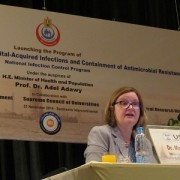 USAID/Egypt mission director, Dr. Mary C. Ott, speaks at the launch of a program to decrease hospital infections.