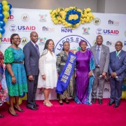 In the middle, the Lagos State First Lady Dr. Ibijoke Sanwo-Olu, to her left is the USAID Nigeria Deputy Office Director for HIV/AIDS and Tuberculosis, Helina Meri and other guests at the launch of the new ICHSSA 2 activity designed to protect children and their households made vulnerable or orphaned by HIV and AIDS in Nigeria