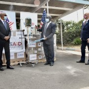 U.S. Ambassador to Kenya Kyle McCarter and visiting USAID Acting Administrator John Barsa announce the United States Government's donation of 200 brand-new, state-of-the-art ventilators to Kenya to assist its fight against COVID-19.