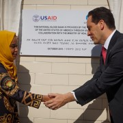Image of USAID Ethiopia Mission Director Sean Jones inaugurating blood bank.