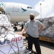 USAID Mission Director to Sri Lanka and Maldives, Reed Aeschliman, greets the arrival of 500,000 rapid diagnostic test kits to Colombo.