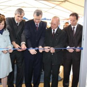 Officials cut the inaugural ribbon of the newly rehabilitated court in Lipjan