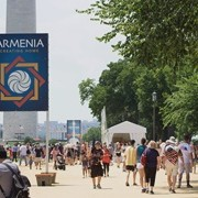 Banners of Armenia on the National Mall in Washington, DC