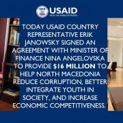 USAID Coungtry Representative Erik Janowsky and Minister of Finance Nina Angelovska sign the DOAG Agreement