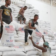 File Photo: United States Agency for International Development (USAID) food assistance being unloaded at Mombasa port.