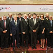USAID/Egypt Mission Director Sherry F. Carlin and Minister of Higher Education and Scientific Research Dr. Khaled Abdel Ghafar joined at the American University in Cairo to announce the opening of 20 UCCDs at 12 Egyptian universities.