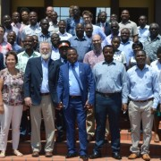 Feed the Future's Africa Research in Sustainable Intensification for the Next Generation (Africa RISING) partners gather for a group photo following the activity's culmination meeting in September 2018.