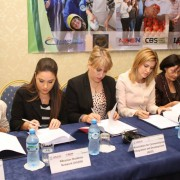 Group of civil society representatives sign documents