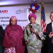 Nigerian Minister of Women and Social Affairs Dame Pauline Tallen (third right) announces the launch of the USAIDSafe Surgery in Family Planning and Obstetrics activity to help more women in Nigeria overcome the burden of obstetric fistula. Joining Minister Tallen were Dr. Zainab Shinkafi Bagudu, First Lady of Kebbi State (second left), USAID Health Office Director Paul McDermott (right) and EngenderHealth Regional Representative Nene Cisse (left).