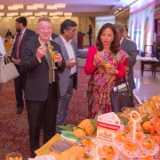 USAID Mission Director Jerry Bisson tasting Pakistani mangoes