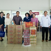 Vice Governor of Savannakhet Province Phoxay Sayasone (third from left) accepted some donated food and water from U.S. Ambassador Rena Bitter (center) on as part of the U.S. support for emergency relief in Southern Laos on September 13, 2019.