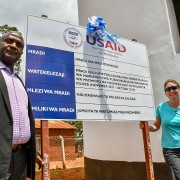 Kilosa District Commissioner Adam Mboyi and USAID Tanzania Deputy Mission Director Catie Lott at the commissioning of the Msowero village water supply system in Morogoro Region.