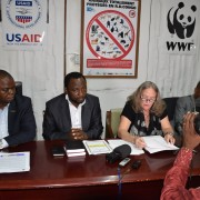 Dr. Diana Putman, USAID/DRC Mission Director, speaks at a press conference with World Wildlife Fund officials in Kinshasa on Feb