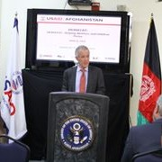 William Hammink, USAID/Afghanistan Mission Director, gives speech during the event.