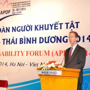 USAID Vietnam Mission Director Joakim Parker speaks at the event.
