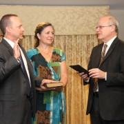 Dr. Jim Barnhart is sworn in as USAID/Albania mission director. Credit: Patricia Adams/USAID