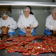 Packaging of seasonings at USAID supported Fruit and Herb Processing Plant