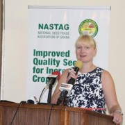 USAID/Ghana Agriculture Team Leader Jenna Tajchman delivers remarks