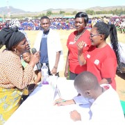 """The Rukwa Referral Hospital Art Group puts on a nutrition stage play at the launch of the Lishe Endevelu (""""Sustainable Nutrition"""") activity."""