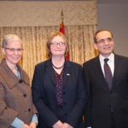 Assistant Administrator Mara Rudman, Mission Director Dr. Mary Ott, and Ambassador Mohamed Tawfik