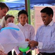 USAID/Burma Mission Director Chris Milligan (left) and USAID Administrator Rajiv Shah (right) in North Okkalapa Township