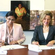 Nisha Biswal (left), U.S. Agency for International Development (USAID) Assistant Administrator for Asia, and Amanda Ellis (right