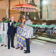 Ambassador Jackson cuts ribbon with Nana Adontenhene of Asante