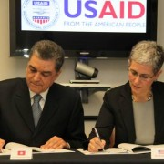 Mohamed Tekaya, Ambassador of the Republic of Tunisia to the United States (left) and Mara Rudman, U.S. Agency for International