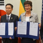 (l to r) KOI, Republic of Korea's Ambassador to Ethiopia Moon-hwan Kim, U.S. Ambassador to Ethiopia Patricia Haslach, and USAID