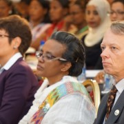 (left to right) U.S. Ambassador Patricia Haslach, Ethiopian First Lady Roman Tesfaye, and USAID Mission Director Dennis Weller a