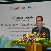 USAID Vietnam Mission Director Joakim Parker speaks at the Vietnam Forests and Deltas Program launch.