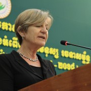 USAID Cambodia Mission Director Rebecca Black speaks at the Launch of the Cambodian National Plan of Action to Combat Traffickin