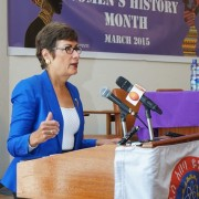 U.S. Ambassador Haslach delivers words of inspiration to female students and Addis Ababa University staff members.