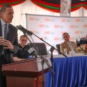 U.S. Ambassador to Zambia Daniel L. Foote delivers remarks during the commissioning of Zambia's first utility-scale solar project, which was financed through USAID/Power Africa and OPIC support.