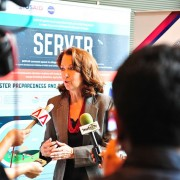 USAID/RDMA Mission Director Beth Paige addresses questions at the SERVIR-Mekong media event in Bangkok.