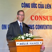 USAID Vietnam Mission Director Joakim Parker speaks at the Consultative Workshop