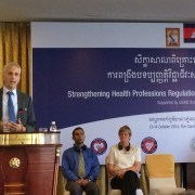 Sean Callahan, USAID Cambodia Deputy Mission Director speaks at National Consultative Workshop on Strengthening Health Professio