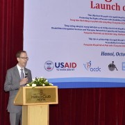 USAID Mission Director Joakim Parker speaks at the launching ceremony.