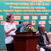 Ms. Polly Dunford, Mission Director, USAID Cambodia is delivering remarks at the 3rd National Nutrition Day.