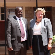 Bomet County Governor, Isaac Ruto and USAID Mission Director in Kenya, Karen Freeman stand next to eachother