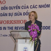 USAID's Acting Assistant to the Administrator Anne Aarnes speaks at the workshop.