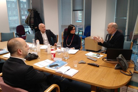 Vasilika Vjero (center), head of Albania's General Directorate of Taxation, participates in an information exchange with counterparts in Ireland.